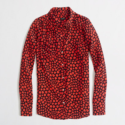 J.CREW FACTORY printed silk two-pocket blouse, Red, XS - Finally bit the bullet on this coveted item. At least it's the Factory version of the heart throb shirt, with a coupon code... still a bit pricey. (P)XXS would fit better - shoulders, sleeves and width are all a bit large, but not sure if I'm willing to return it.