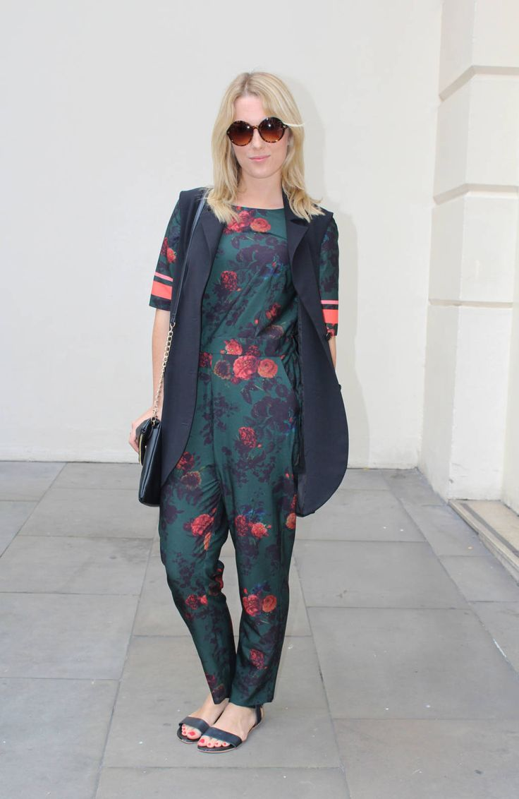 Lizzie wears: Shoes: Debenhams, Shades: Vintage, Jumpsuit: Preen at Debenhams, Jacket: Betty Jackson, Bag: Debenhams Alexandra Haddow -Cosmopolitan.co.uk