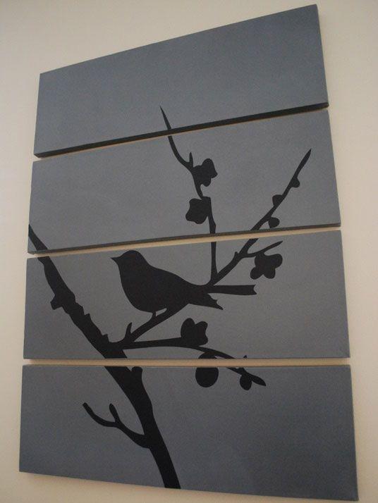 4 toiles oiseau sur un arbre