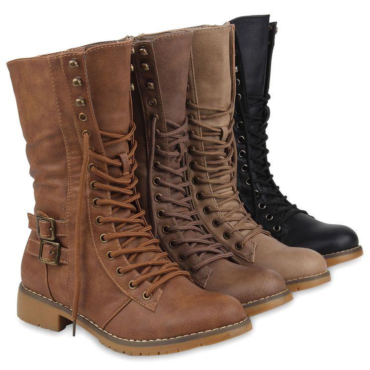 Damen Stiefel Worker Boots Schnürstiefel Profilsohle 77082