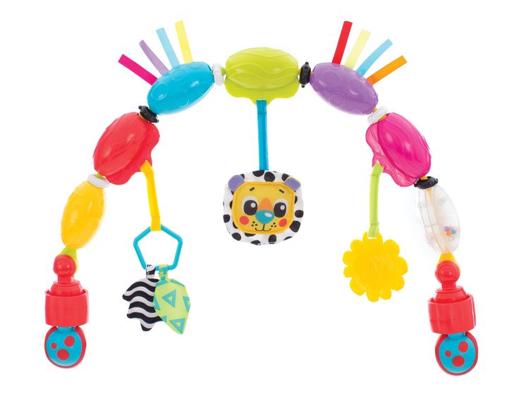 Bopping Bubbles Musical Play Arch-This multi coloured bubble Travel Play Arch is great for on the go, with easy attachment tightening clamps for the car, stroller or bouncer.  The bubbles encourage motor development as baby reaches to spin them round and round.  Beads rattle and fabric crinkles while the lion's head plays a fun melody.  The textured teether allows for chewing.