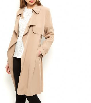 Fashion Union Stone Waterfall Front Trench Coat