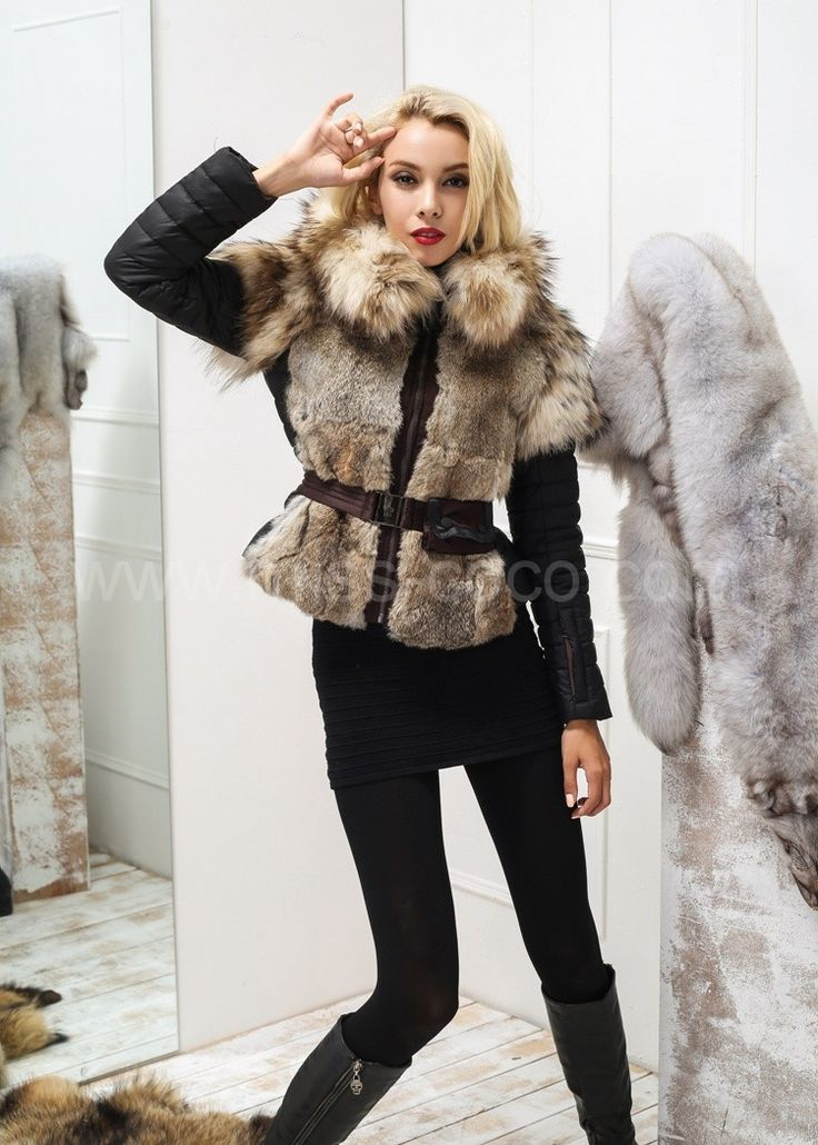 Black Moncler Women Fur Jacket with Racoon Collar and Shoulders with Rabbit  Fur Front Outlet 339