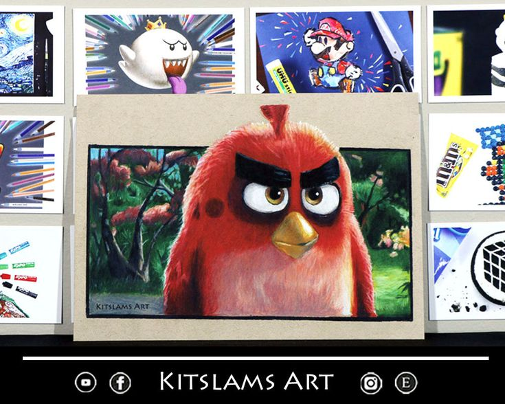 Movie Pencil color Drawing - PRINT - Angry Birds Art