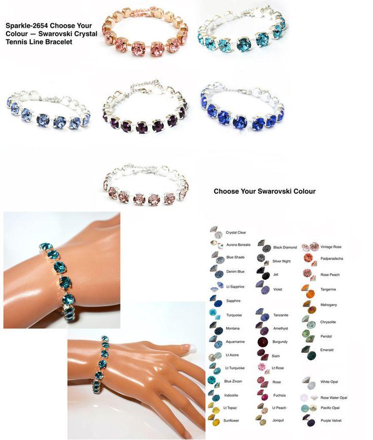 Choose Your Colour -- Handmade Swarovski Crystal Tennis Bracelet (Sparkle-2654)…