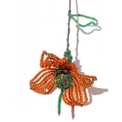 Wire Beaded Sculptured Flower Artwork
