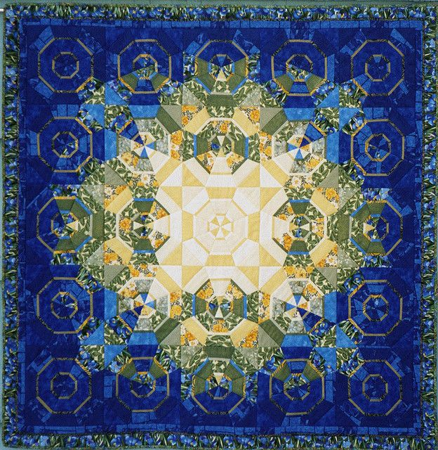 "blue kaleidoscope  kaleidoscope variation 2001 65X65"""