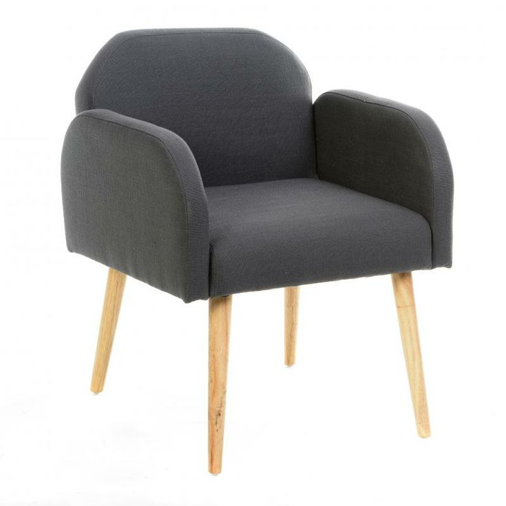 Un fauteuil gris ou bleu, style vintage scandinave.