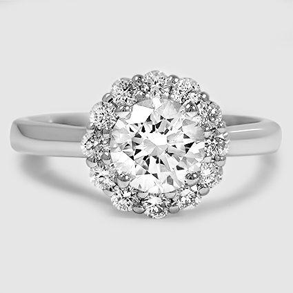Platinum Lotus Flower Diamond Ring // Set with a 1.05 Carat, Round, Super Ideal Cut, F Color, VVS2 Clarity Diamond #BrilliantEarth