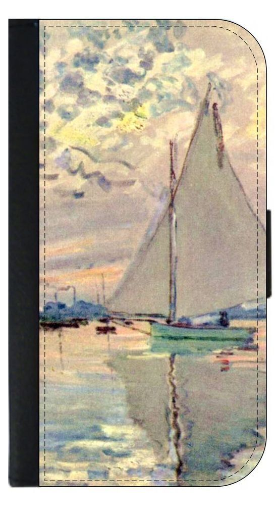 Claude Monet's Sailboats in Le-Petit-Genneviliers Painting Print Design Apple iPhone 7 Universal (Not Compatible with the iPhone 7 Plus) PU Leather Wallet Case with Flip Cover and Magnetic Clasp. Quality Leather-Look Wallet Case with Flip Cover and Magnetic Clasp Compatible with the Standard Apple iPhone 7 Universal (Not Compatible with the Apple iPhone 7 Plus). Bright, Eye-Catching Flat-Printed Image on Metal Substrate with Glossy Finish. Made and Manufactured in the U.S.A. Excellent...