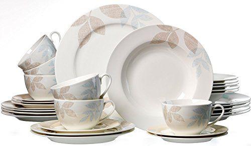 Kombiservice Cecilia Porzellan Geschirrset Kaffeeservice und Tafelservice für 12 Personen 60 Teile und mysolitaire Teelichthalter