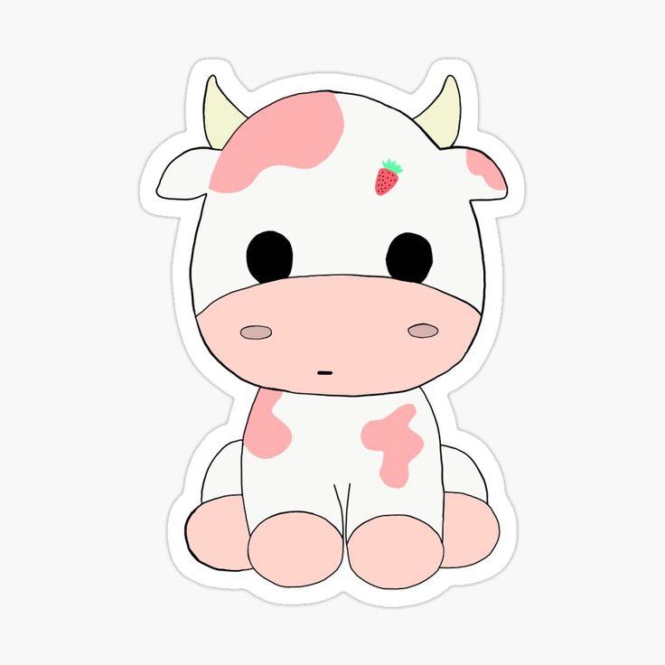 'Strawberry Cow' Sticker by jasminrogerss Preppy