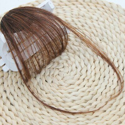 Details about Thin Neat Air Bangs Real Human Hair Clip on Bangs Clip in Front Fringe Hairpiece