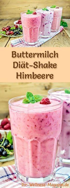 Buttermilch-Shake mit Himbeeren - ein Rezept mit viel Eiweiß und wenig Kalorien, perfekt zum Abnehmen, gesund und lecker ...