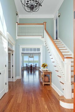 contrasting wood and white staircase