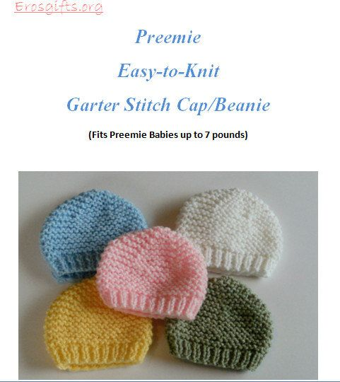 Knitting Pattern For Dolls Beanie : PATTERN Adorable Preemie Infant Beanie Caps also for Bitty Baby American Girl...