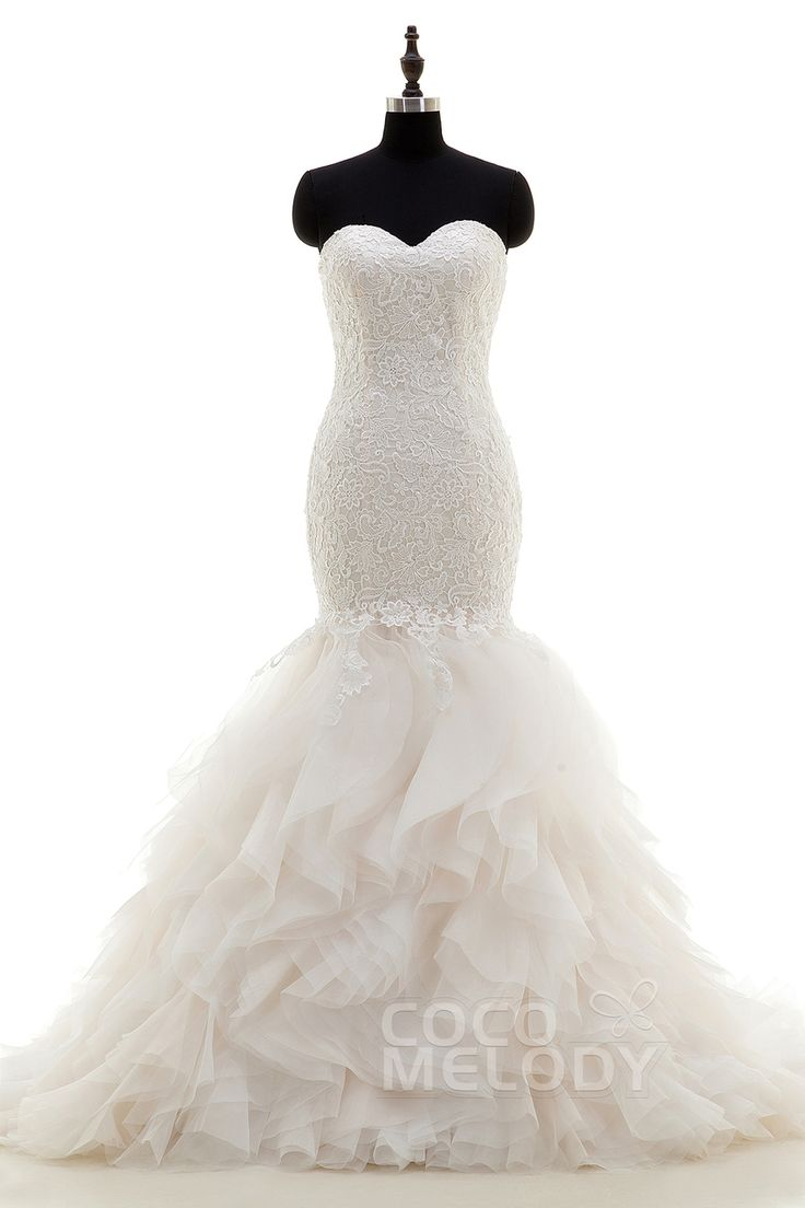 Sweetheart Dropped Waist Tulle Wedding Dress with Appliqués - http://glamourgownsandheels.com.au/sweetheart-dropped-train-tulle-wedding-dress-with-appliques/  #bridalgowns #designergowns