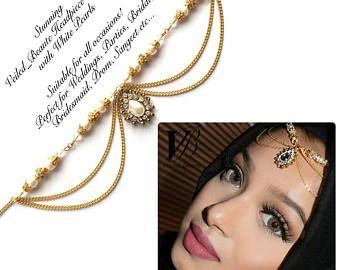 Pearl gold head piece , head wear , hair jewelry , eid arabic hijab jewels , chain hair accessories , matha patti , indian bridal jhoomer