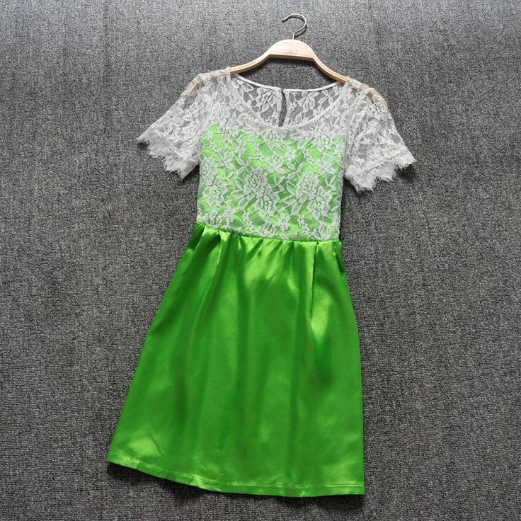 Stitching lace dress AFAJEI