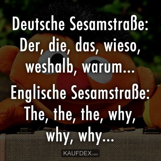 Deutsche Sesamstraße: Der, die, das, wieso, weshalb, warum… Englische Sesamstraße: The, the the, why, why, why…