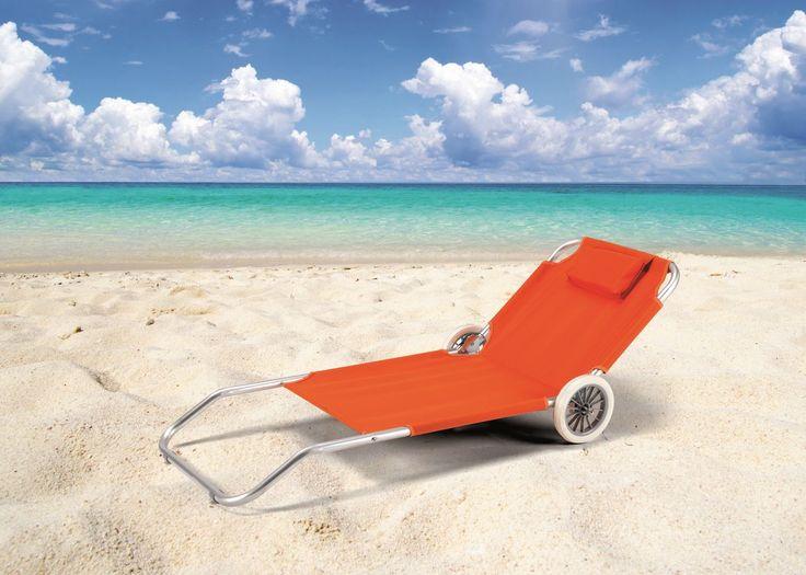 Lettino da spiaggia con ruote, lettino prendisole con cuscino BA600OXF € 44,95