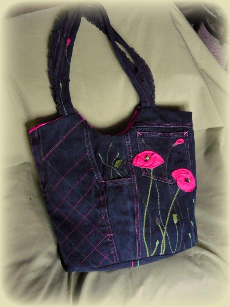 Handmade by Judy Majoros - Pink poppy denim bag. Recycled bag. Denim hobo bag.