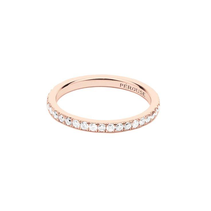 Alliance en diamants serti descendu FOUGÈRES - Or rose 18 cts