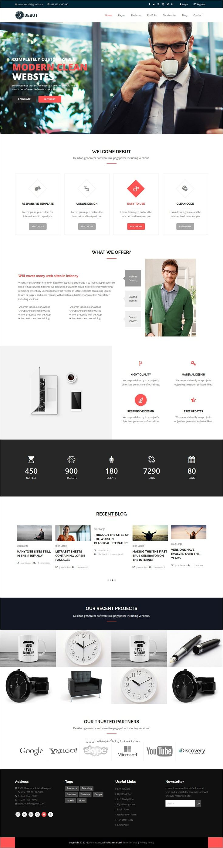 Debut is a modern and professional #responsive #Joomla template for #corporate company, business, blog and portfolio website with 11+ multipurpose homepage layouts download now➩ https://themeforest.net/item/debut-the-multipurpose-responsive-joomla-theme/19077114?ref=Datasata