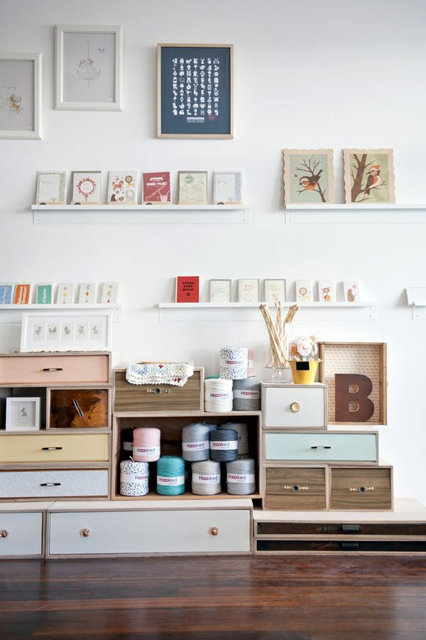 pretty shop by Studio Bomba/Mitchell: Idea, Studios Spaces, Studios Bomba Mitchell, Shops Interiors, Crafts Rooms, Shelves, Workspaces, Display, Drawers