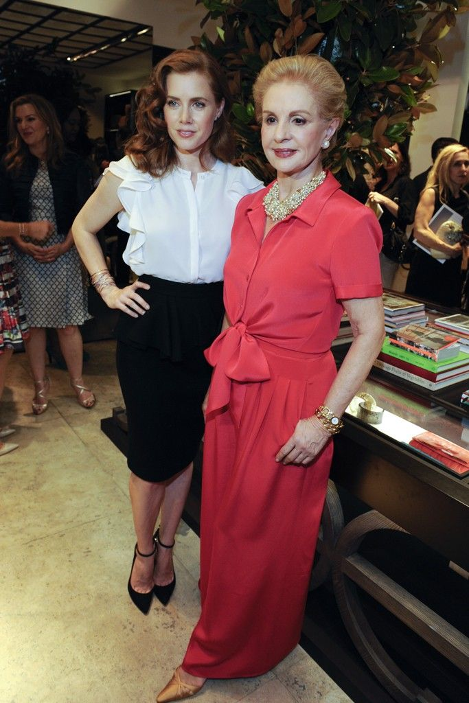 Amy Adams in Carolina Herrera with the designer at the CH Carolina Herrera Store Opening in L.A. [Photo by Amy Graves]
