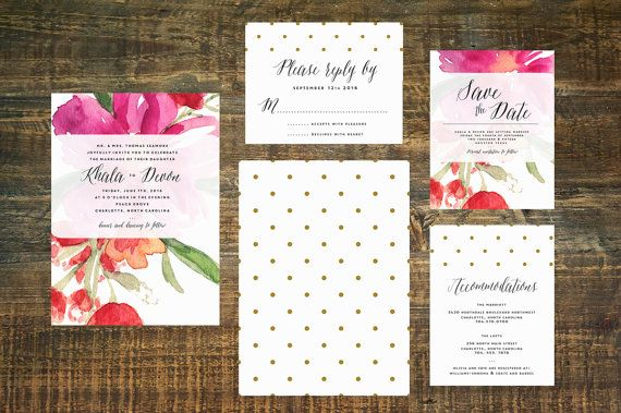 Watercolor Garden Wedding Invitation  Pink by TheWoolberryPress