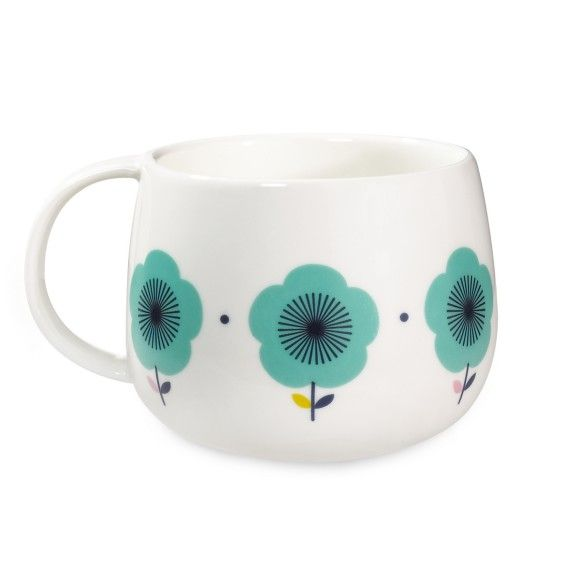 Blue Flower Mug This beautiful hand-painted mug by Mr & Mrs Clynk is just gorgeous to wrap your hands around and is the epitome of Scandi chic. Comes with gift box. Dimensions: Height: 8 cm Diameter: 9 cm Material: Porcelain £9.90