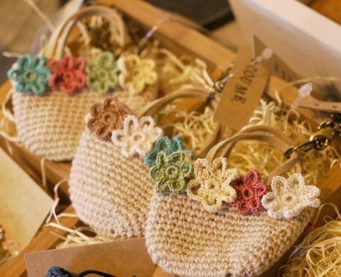 crochet mini bag key chain