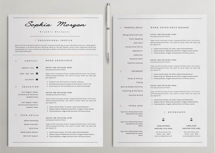 Professinal Resume / CV Template 7 Cv template, One