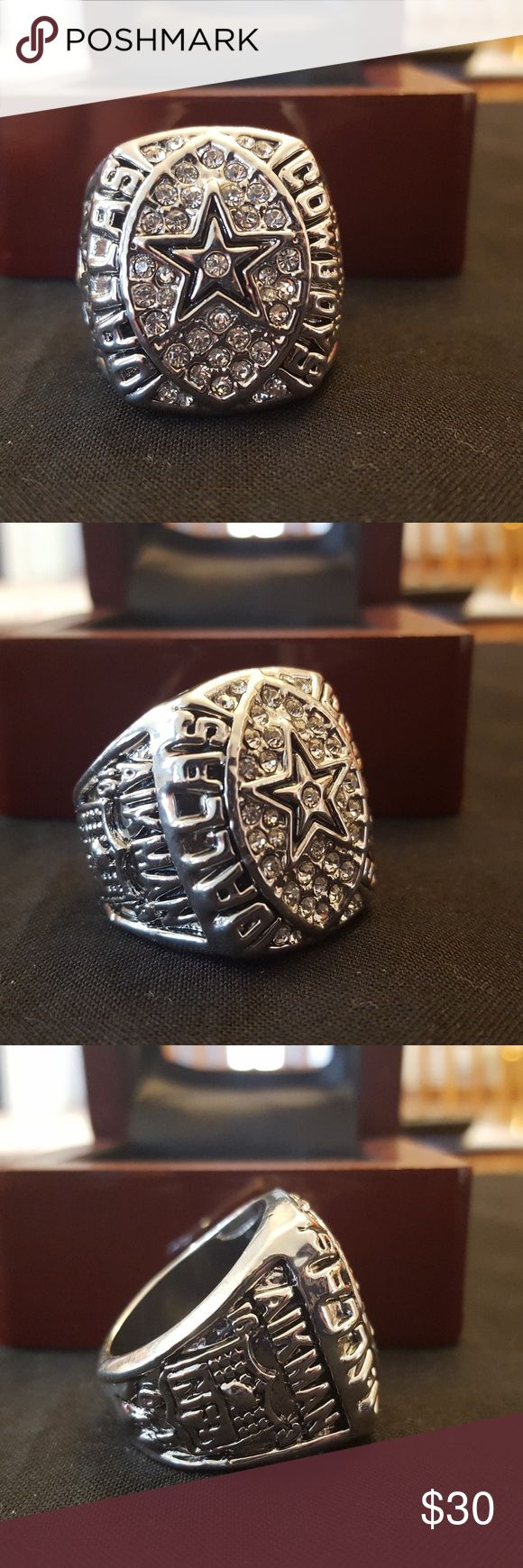 Dallas Cowboys 1992 Super Bowl Ring Fan Edition 🏆🏈🏆 New never worn. Sizes 11. Show the world your Cowboys pride by owning this beautiful ring and remember their 1992 Super Bowl Championship Ring . This gorgeous ring is 18k gold plated and inlayed with exquisite cubic zirconias. It will look great on your finger, at the game, while watching the game on tv, or around town. This is the closest thing to a real championship ring set that most of us will ever get to. Meet up in Red Oak…