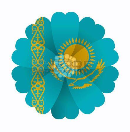 illustration of flower Flag Kazakhstan photo