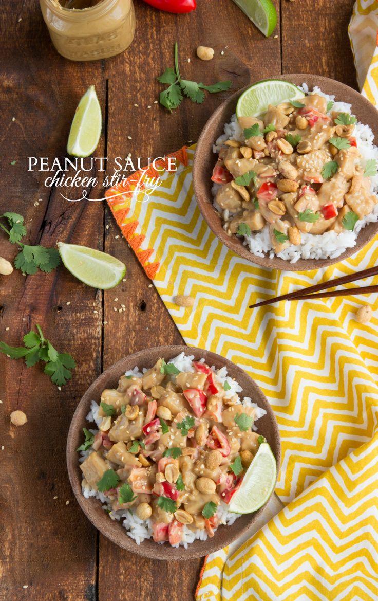 A simple, under 30 minute peanut sauce chicken stir-fry
