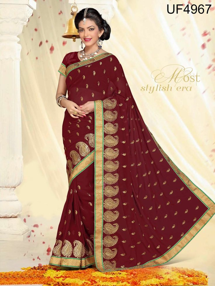 buy saree online Maroon Colour Faux Georgette Zari Work Party Wear Saree Buy Saree online UK  - Buy Sarees online