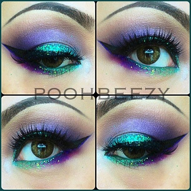 Shadows used are all from an old Sephora Palette (no name, sorry) Loose glitter is from Sally's, Brows are Anastasia Beverly Hills brow kit (Brunette) Lashes are House of Lashes Noir Fairy (love these falsies!) Contacts are Colorblends Freshlook in Green, Eyeliner is Lorac Liquid Eyeliner and Nyx studio liquid liner in Extreme Purple for a touch of color #poohbeezy