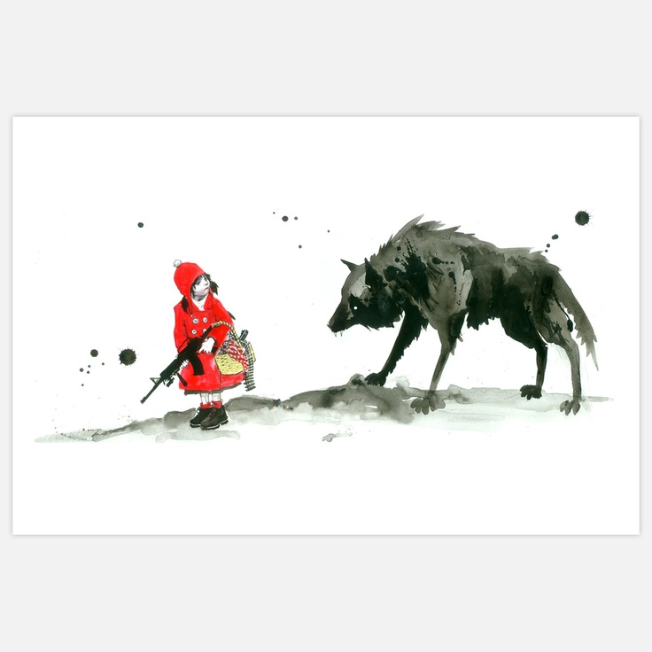 Fab.com | Red Riding Hood Ltd Ed Print --Lora Zombie  Gritty Watercolor Art