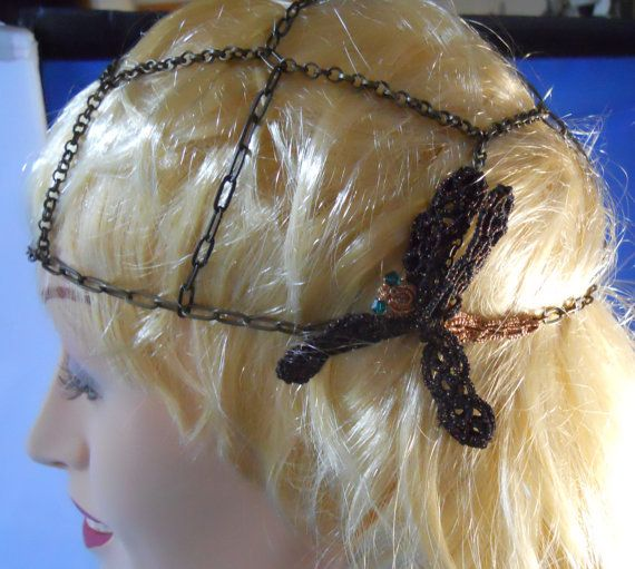 Antique Brass Chain Skullcap/Beanie with by MummyearthDesigns