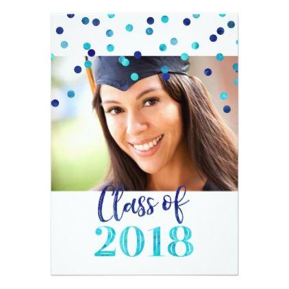 Blue Watercolor Confetti Photo Graduation Party Card - graduation party invitations card cards cyo grad celebration