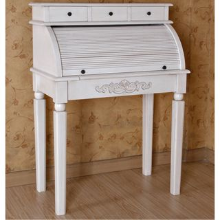 Overstock Com Antique White Three Drawer Desk Add A