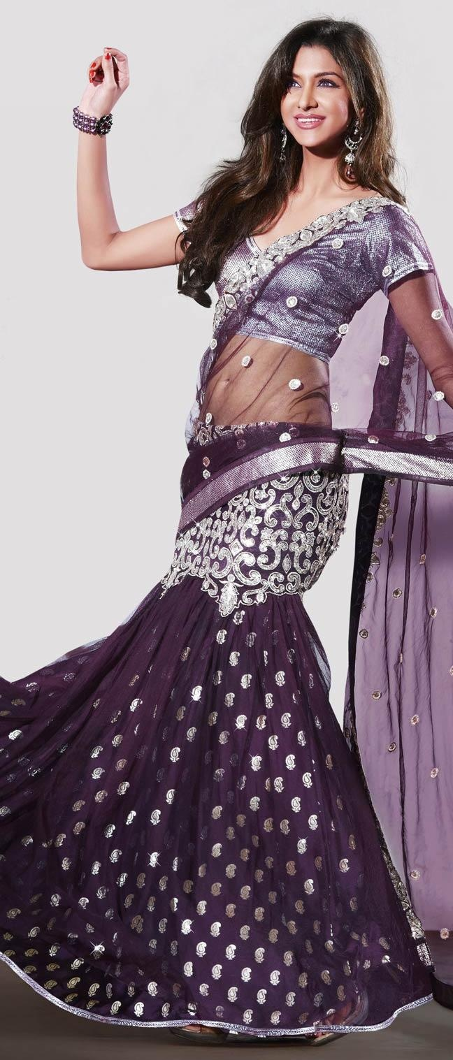 Ravishing Purple Net #Lehenga Style #Saree with Blouse @ $103.40 | Shop Now @ http://www.utsavfashion.com/store/sarees-large.aspx?icode=sws2873