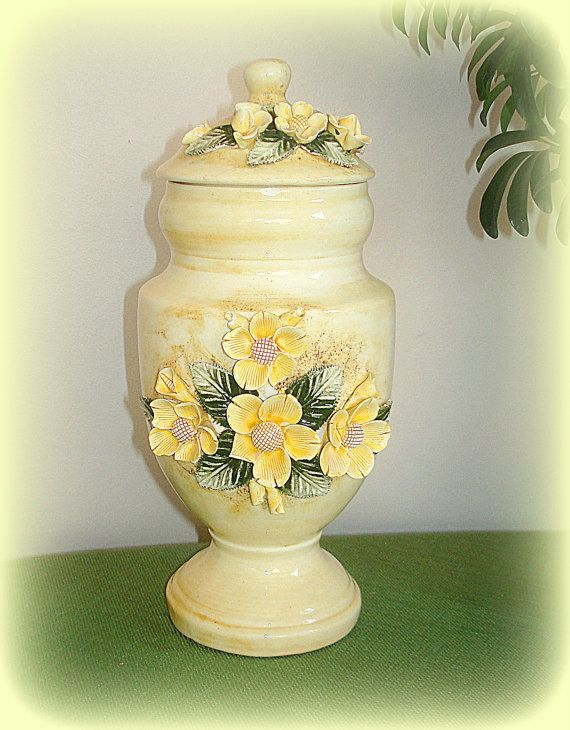 Vintage Biscotti Jar with Lid.  Ceramic by fineoldthings on Etsy, $27.00
