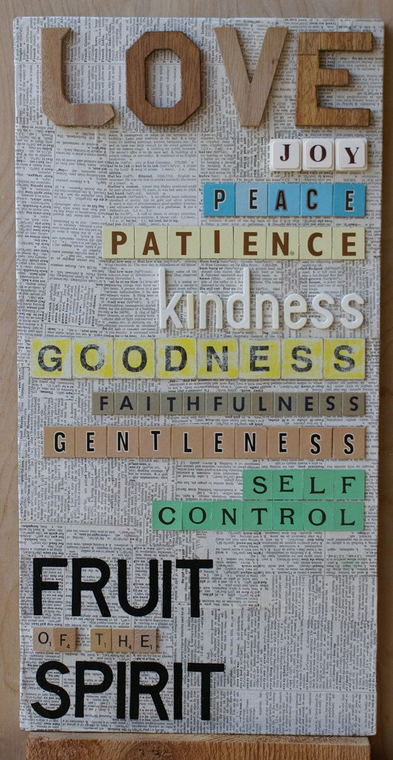 Galatians 5:22-23Decor Crafts, Decor Ideas, Inspiration, God, Fruits Of The Spirit, Wall Hanging, Collage Wall, Diy, Bible Crafts