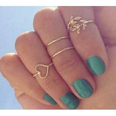 European Heart Shape Gold Women'S Clear With Cubic Zirconia Midi Rings(4 Pcs) – USD $ 2.99