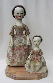 The Old Pretenders studio offers collectors the finest quality reproductions of English wooden dolls in the 17th and 18th century manner. Each one of a kind creation is handcrafted individually using traditional techniques: Queen Anne Doll, Kid