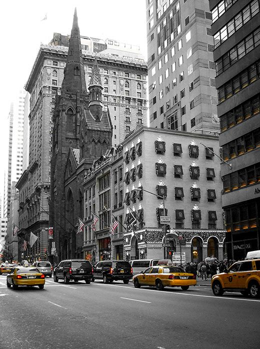 Yellow cabs in New York.