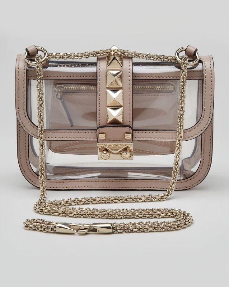 Valentino Rockstud Small PVC Lock Crossbody Bag